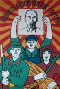 Vintage Vietnam Propaganda Poster, Picture of Ho Chi Minh